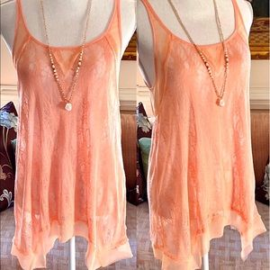 NWOT Free People Beautiful Peach Lace Top